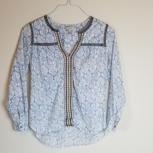 J.Crew Ladies Embroidered Teal/White/Tan Blouse